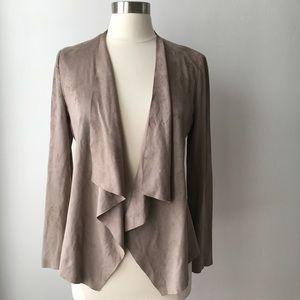 Zara Faux Suede Taupe Asymmetrical Blazer